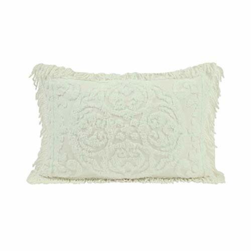 Standard Size Beatrice Home Fashions Medallion Chenille Pillow Sham Ivory