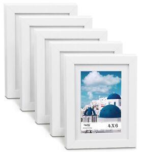 """CAVEPOP 5x7"""" Mat 4x6"""" Picture Frame 5 Pieces Set- White"""