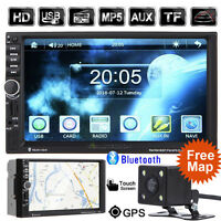 7'' DOUBLE 2 DIN TOUCH CAR GPS NAV DVD PLAYER RADIO STEREO + EUROPEAN MAP +CAMER