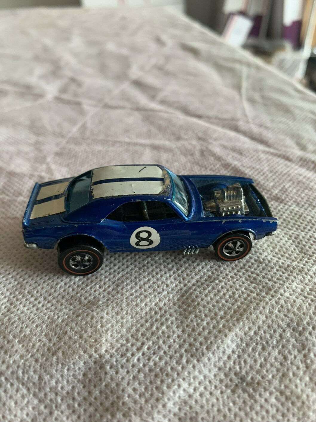 VINTAGE ORIGINAL HOT WHEELS REDLINE RED LINE HEAVY CHEVY CAMARO BLUE VERY NICE