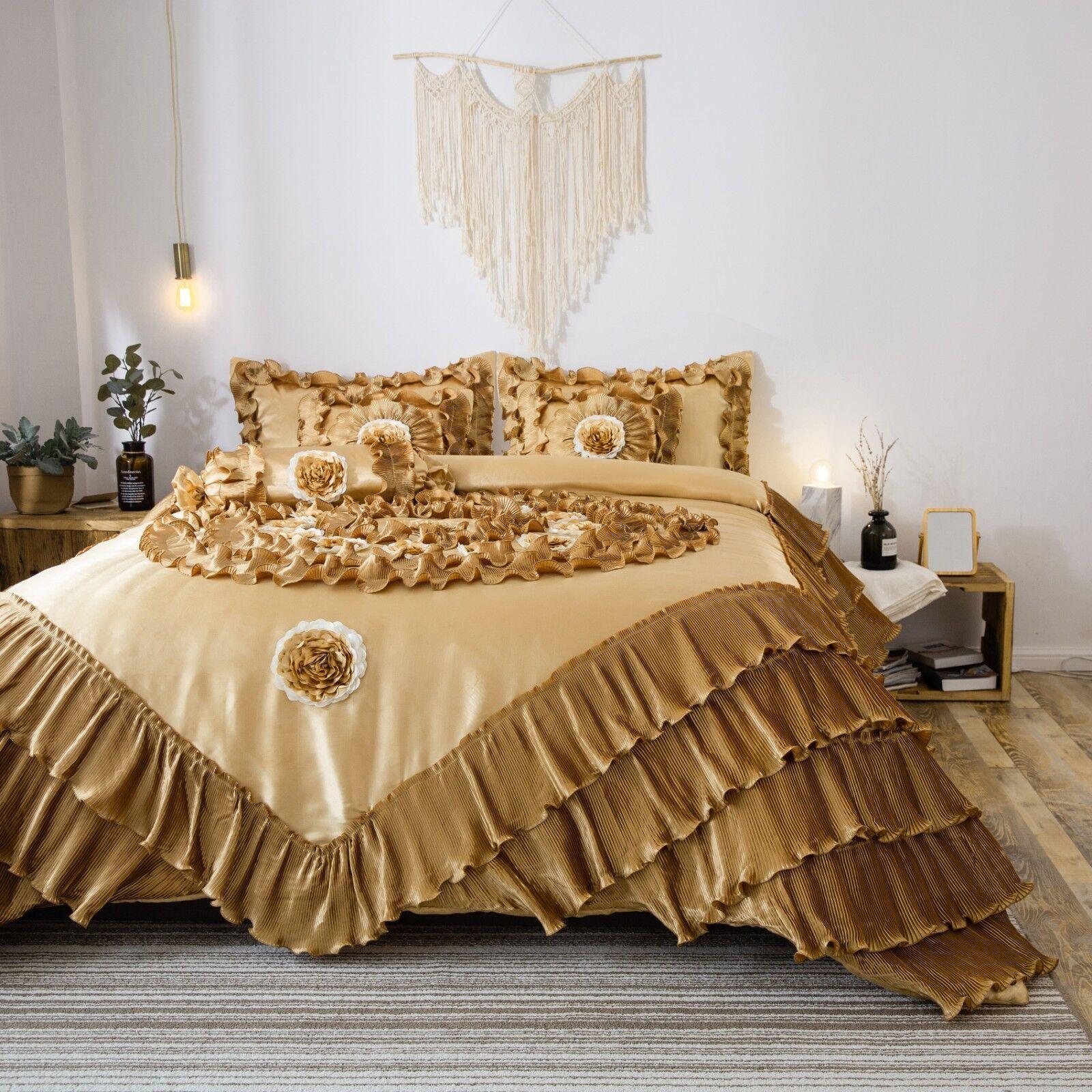 Tache 6 PC Floral Solid Luxury Caramel Latte Ruffle Comforter Quilt Set,oro
