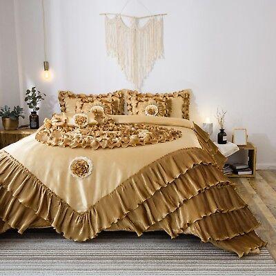Tache 4-6 PC Floral Gold Red Pink Flowers Patchwork Comforter Quilt Bedding Set