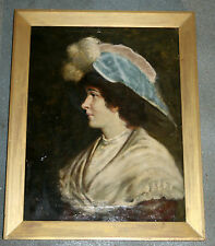 Victorian Georgian portrait oil painting on canvas. Framed. A pretty girl
