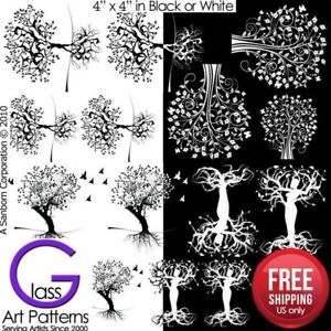 Tree-of-Life-I-Fusing-Decal-Glass-Ceramic-Waterslide-Enamel-Black-White-Hi-Fire