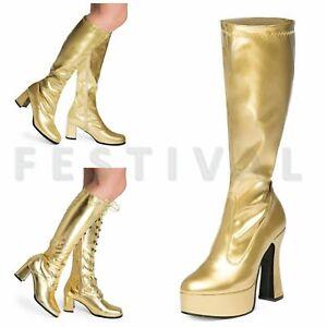 Womens-Ladies-Mens-Gold-Knee-High-Eyelet-Platform-Disco-Fancy-Dress-Boots