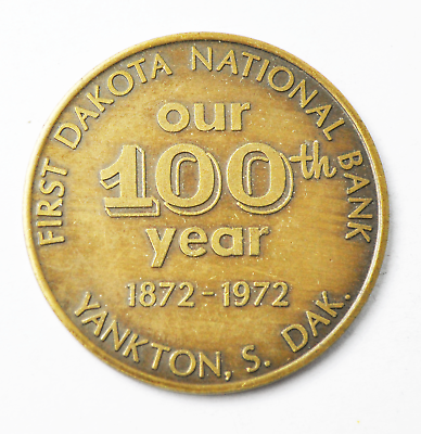 Verantwoordelijk Dakota 100th Year Yankton S Dakota First National Bank Token Souvenir Half 40mm