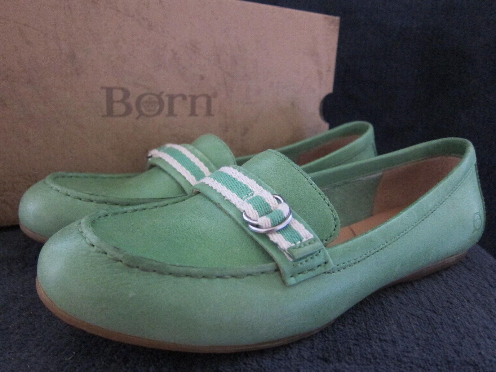 BORN Womens Maxine B77629 Green Slip On Moccasins Flats shoes US 8.5 M EU 40 NWB