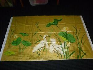 Vtg-Greeff-Glazed-Cotton-Fabric-Panel-Snowy-Egret-Natures-Heritage-51x29