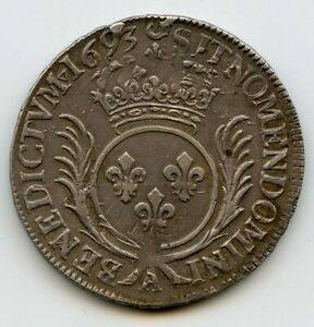 Louis-XIV-1643-1715-1-2-Ecu-aux-palmes-1693-A-Paris