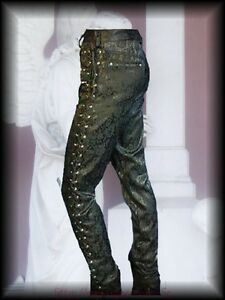 Victorian-Steampunk-Laced-Up-Brocade-Trousers-Black-Goth-Edwardian-Reenactment