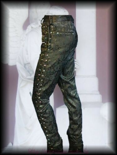 Victorian Steampunk Laced Up Brocade Trousers Black Goth Edwardian Reenactment