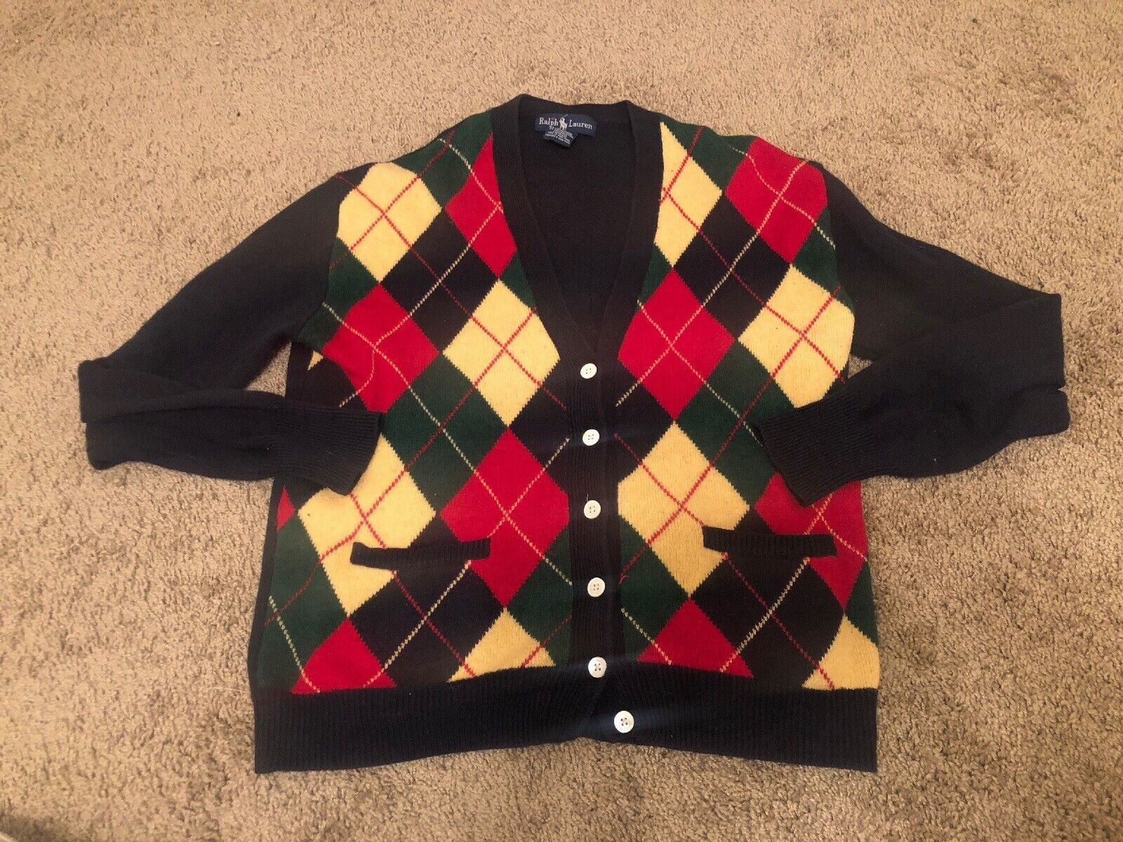 VTG Polo Ralph Lauren Diamond Plaid Cardigan Preppy Sweater Large