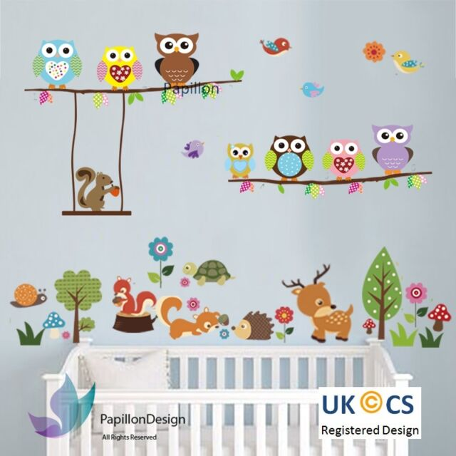 woodland animal owl squirrel tree bird nursery kid baby wall decal
