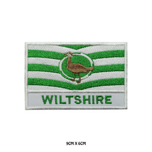 WILTSHIRE County Flag With Name Embroidered Patch Iron on Sew On Badge