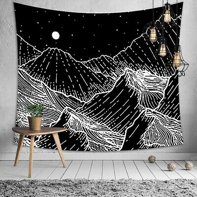 Black White Mountain Sea Tapestry New Room Wall Hanging Tapestries Home Decor Ebay