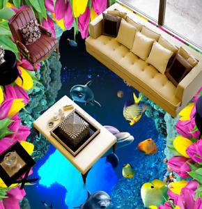3D Flowers Dolphins 4 Floor WallPaper Murals Wall Print 5D AJ WALLPAPER UK Lemon