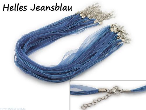 Farbe wählbar 5 Halsketten Organzaband Schleifenband Schmuckband Kette