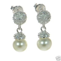 Joseph Esposito Solid 925 Sterling Silver 0.48ct Tw Pearl Drop Earrings '