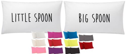 Little Spoon Big Spoon Pillow Case 75cm x 45cm Pair Printed Gift Funny Present
