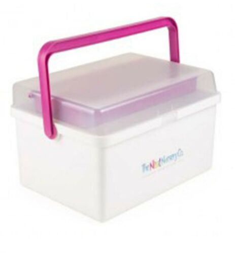 BLUE OR PINK BABY BOX ORGANISER WHITE THE NEAT NURSERY CO