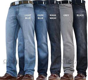 Hombre-Nuevos-Pierna-Recta-Corte-Normal-Vaqueros-Oscuros-Grande-Cintura-Y-Tallas