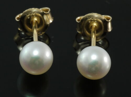 585 Gold Ohrstecker 1 Paar weiße Perle 5 mm 14 Karat Gelbgold in Geschenkbox