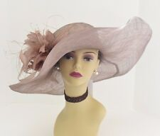 Kentucky Derby Church Wedding Feather Flower Sinamay Wide Dress Hat 58 (Taupe)