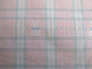 Home-Decor-BABY-cotton-fabric-woven-plaid-PINK-bunny-BTHY-half-yard-58-W