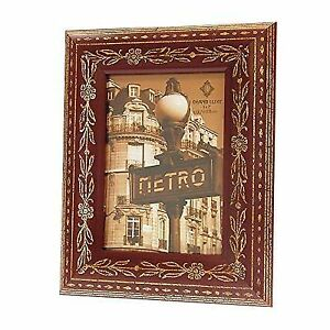 Concepts In Time Picture Frame Rounded Wood Aged Gold Etched Rust
