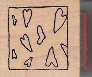 hearts-in-a-frame-Wood-Mounted-Rubber-Stamp-1-1-2-x-1-1-2-034-Free-Shipping