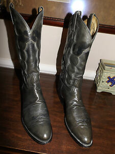 VTG-TONY-LAMA-Style-8988-SMOOTH-GRAY-OSTRICH-13-034-Shaft-Boots-Size-9-D