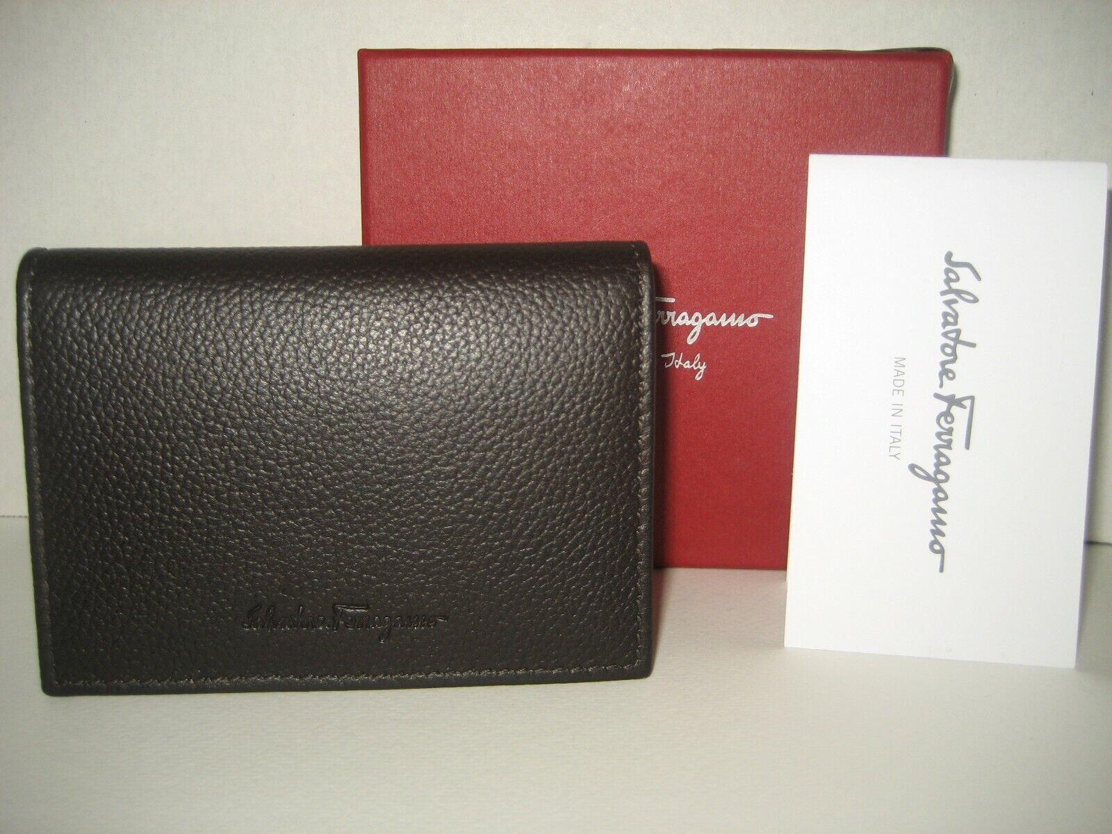 NEW Salvatore Ferragamo Brown Leather Bifold ID Card Cash Case Wallet Box