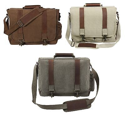 Vintage Pathfinder Laptop Bags - Canvas & Leather Laptops Shoulder Messenger Bag