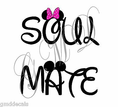 Mickey Minnie Mouse SOUL MATE Personalized T-shirt Iron On Decal love wedding