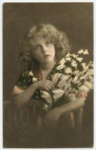 1910s Children Child Cute GIRL w/ FLOWERS British Photogravure photo postcard