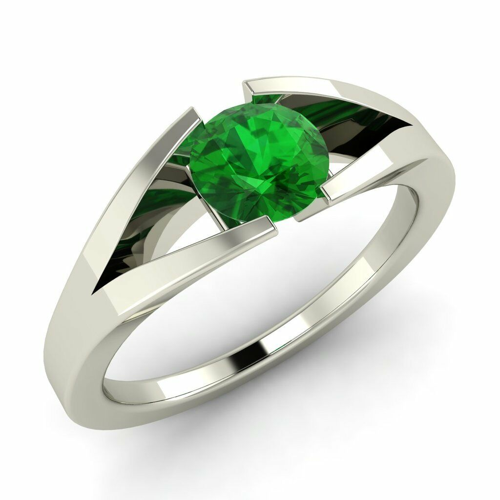 Certified 10k White gold 0.42ctw FINE Natural Emerald Solitaire Engagement Ring