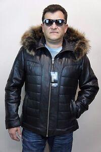 Black-Real-Lambskin-Leather-Puffer-Padded-Raccoon-Hood-Jacket-Coat-Bomber-NWT