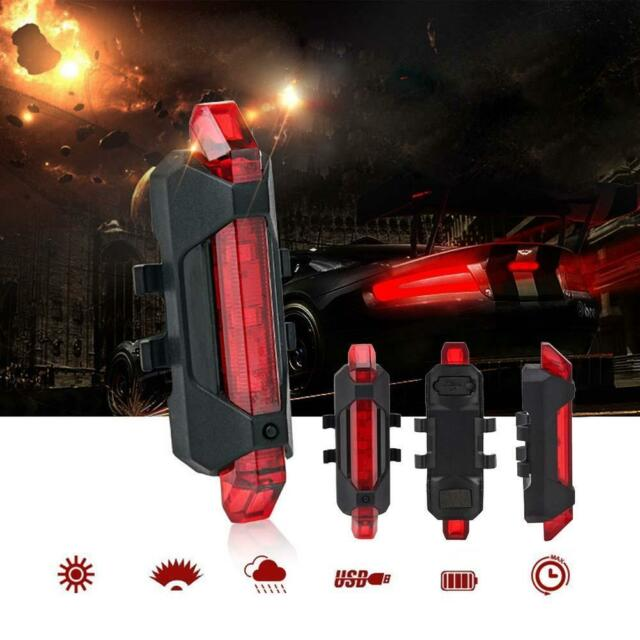Night USB Rechargeable Bike Bicycle Tail Rear Safety Warning Light Red Lamp WT