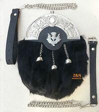 3 Tassels Black Rabbit Fur Scottish Kilt Sporran, Free Leather & Metal Belt