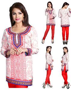 UK-STOCK-Red-Indian-Pakistani-Printed-Short-Kurti-Tunic-Kurta-Top-Dress-128C