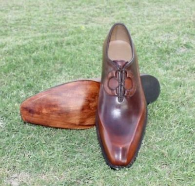 MENS HANDMADE ANTIQUE BROWN FORMAL PURE REAL QUALITY LEATHER SHOES