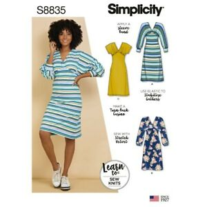 Simplicity-Sewing-Pattern-8835-Women-039-s-Misses-039-Learn-To-Sew-Knit-Dress