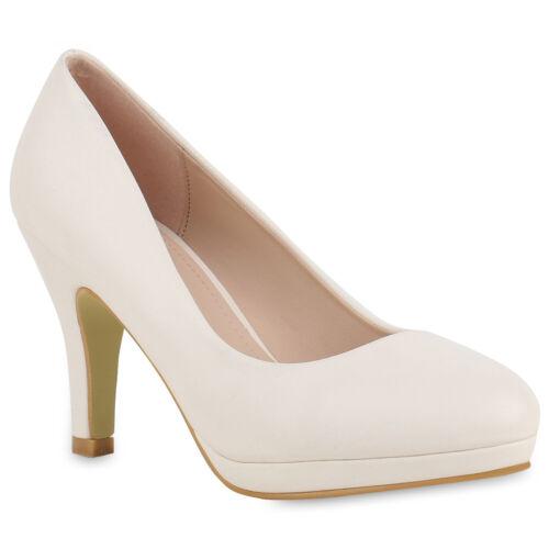 Plateaupumps Damen Abiball Stilettos Klassische Pumps Leder-Optik 817019 Schuhe