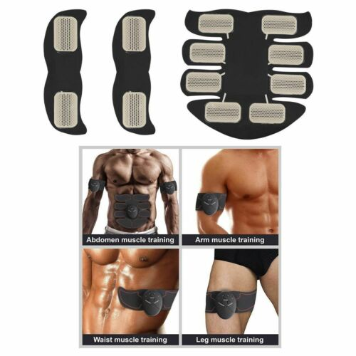 8PC Electric Muscle Toner EMS Simulator Wireless Toning Belt ABS Butt Trainer DD