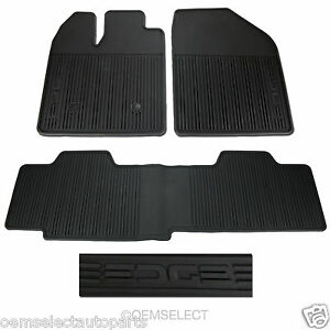 Ford Edge All Weather Floor Mats ... NEW-2011-2014-Ford-Edge-All-Weather-Vinyl-Floor-Mats-BLACK-w-Edge-Logo