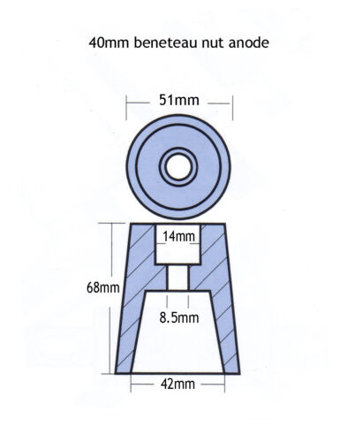 40mm Beneteau anode for conical propeller nut in zinc