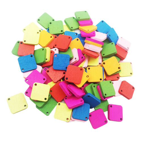 100pcs Mixte forme carrée en bois Boutons 2 Trous Boutons À faire soi-même Crafts Supplies
