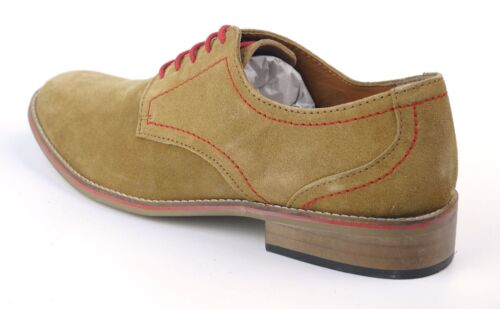 Frank James Evan Real Suede Leather Casual Lace Up Mens Shoes Tan Suede