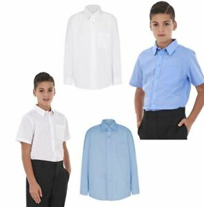 BOYS SCHOOL UNIFORM COLLAR SHIRT LONG SLEEVE SHORT SLEEVE BLUE WHITE TWIN PACK