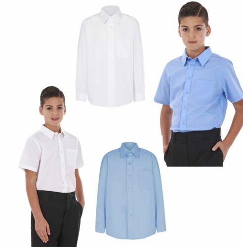 Boys School Shirt Uniform Short Sleeve And Long Sleeve Twin Pack White Sky Blue